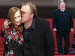 """CANNES, FRANCE - MAY 22:  Gerard Depardieu,  Isabelle Huppert, director Guillaume Nicloux, Dan Warner and Frederique Bredin attend the """"Valley Of Love"""" Premiere during the 68th annual Cannes Film Festival on May 22, 2015 in Cannes, France.  (Photo by Tristan Fewings/Getty Images)"""