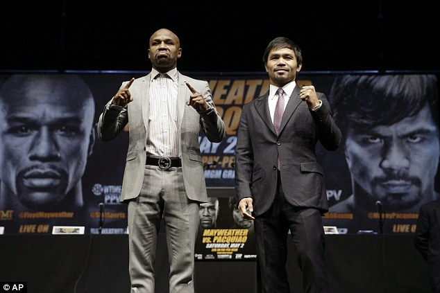 Mayweather (left) has been preparing for his mega-fight against Manny Pacquiao on Saturday