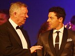 LONDON, ENGLAND - MAY 19:  Sir Alex Ferguson chats with Rory McIlroy of Northern Ireland during the European Tour Players' Awards ahead of the BMW PGA Championship at the Sofitel London Heathrow on May 19, 2015 in London, England.  (Photo by Richard Heathcote/Getty Images)