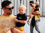 Like father like son ...Josh Duhamel and supercute son Axl leaving Early World breakfast place saturday  may 23, 2015 X17online.com