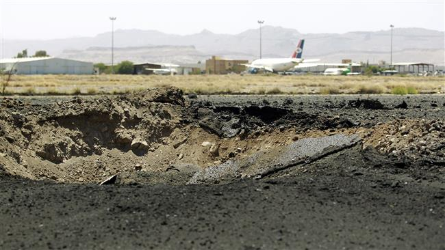 29 2015 shows a crater left after a Saudi airstrike on the tarmac of the international airport in Yemen's capital Sana'a