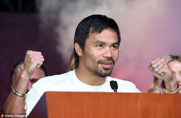 Pacquiao looked relaxed as he spoke briefly to the assembled crowd in Las Vegas