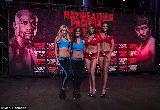 The ring card girls line up before Pacquiao makes his entrance at the Mandalay Bay