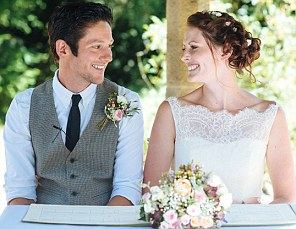 HELEN AND JAMES THOMPSON ON THEIR WEDDING DAY