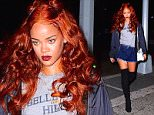Rihanna was spotted arriving at a NYC Recording studio just before 4am Sunday morning. She showed off her burnt orange locks, which she had up in two buns. She wore a short denim skirt and knee high black suede boots to complete her sexy, casual look.  Pictured: Rihanna Ref: SPL1033899  240515   Picture by: 247Paps.TV / Splash News  Splash News and Pictures Los Angeles: 310-821-2666 New York: 212-619-2666 London: 870-934-2666 photodesk@splashnews.com
