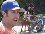 137729, Adam Sandler seen setting up the lemonade stand for his daughters Sadie and Sunny in Malibu. Malibu, California - Monday May 25, 2015. Photograph: © Sage/Fritz, PacificCoastNews. Los Angeles Office: +1 310.822.0419 sales@pacificcoastnews.com FEE MUST BE AGREED PRIOR TO USAGE