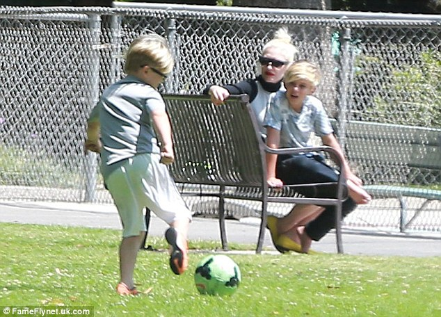He's got skills: Zuma enjoyed a kickabout as his older brother and mum looked on