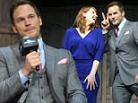 """BEIJING, CHINA - MAY 26:  (CHINA OUT) Actress Bryce Dallas Howard and actor Chris Pratt attend """"Jurassic World"""" press conference at Yintai Centre on May 26, 2015 in Beijing, China.  (Photo by ChinaFotoPress/ChinaFotoPress via Getty Images)"""