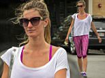 EXCLUSIVE TO INF.\nMay 26, 2015: Gisele Bundchen chats with a friend as she leaves the gym in Boston, Massachusetts this morning.\nMandatory Credit: INFphoto.com Ref: infusbo-10