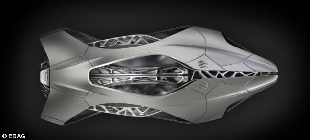 Designers used a turtle shell to inspire the shape of the car body to create a body that 'cushions and supports' an interior carriage, surrounded by reinforcing metals (illustrated)