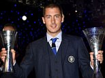 Chelsea FC via Press Association Images MINIMUM FEE 40GBP PER IMAGE - CONTACT PRESS ASSOCIATION IMAGES FOR FURTHER INFORMATION. Chelsea's Eden Hazard celebrates with the Player's Player of the Year and Player of the Year awards