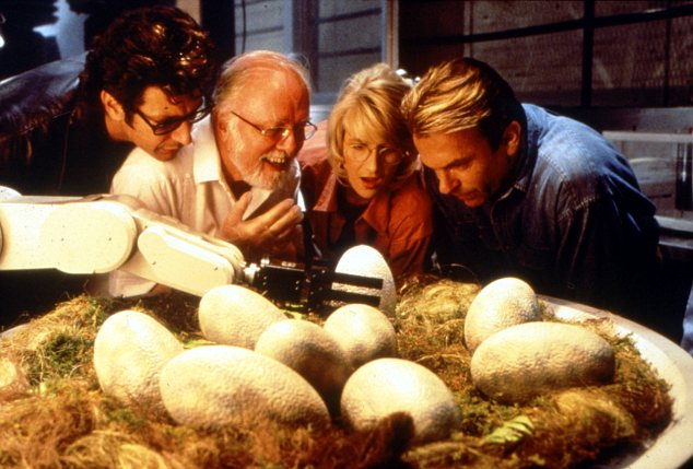 Jeff Goldblum, Richard Attenborough, Laura Dern and Sam Neill on the set of Jurassic Park in 1993. Now, it could become reality thanks to an Australian billionaire.