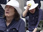 Angus Young and his wife Ellen at Roland Garros in Paris...5/27/2015....Pictured: Angus Young..Ref: SPL1037605  270515  ..Picture by: KCS Presse / Splash News....Splash News and Pictures..Los Angeles: 310-821-2666..New York: 212-619-2666..London: 870-934-2666..photodesk@splashnews.com..