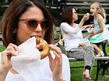 TV personality Bethenny Frankel watches her daughter, Bryn Hoppy, jump off a park bench in Tribeca in New York City. Bethenny and Bryn bought a pretzel and frozen yogurt from street vendors.\n\nPictured: Bethenny Frankel and Bryn Hoppy\nRef: SPL1039091  280515  \nPicture by: Christopher Peterson/Splash News\n\nSplash News and Pictures\nLos Angeles: 310-821-2666\nNew York: 212-619-2666\nLondon: 870-934-2666\nphotodesk@splashnews.com\n