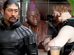"""Brian Tee, who will play the villain Shredder, Gary Anthony Williams dressed as Bebop and Wrestler Sheamus as Rocksteady seen filming scenes at the """"Teenage Mutant Ninja Turtles 2"""" movie set in Downtown. Manhattan.\n\nPictured: Gary Anthony Williams and Sheamus\nRef: SPL1038087  270515  \nPicture by: Jose Perez / Splash News\n\nSplash News and Pictures\nLos Angeles: 310-821-2666\nNew York: 212-619-2666\nLondon: 870-934-2666\nphotodesk@splashnews.com\n"""