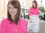 Picture Shows: Bryce Dallas Howard  May 28, 2015    Bryce Dallas Howard seen arriving at BBC Radio 1 in London, UK. Bryce was channeling 50's chic in a pink cardigan and floral print midi skirt.    Non Exclusive  WORLDWIDE RIGHTS    Pictures by : FameFlynet UK © 2015  Tel : +44 (0)20 3551 5049  Email : info@fameflynet.uk.com