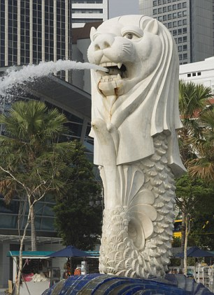 The Merlion statue in Singapore