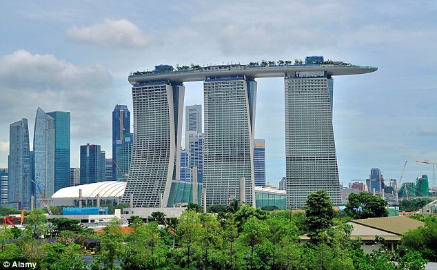 An exterior shot of The Marine Bay Sands hote in Singapore