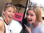 """Jodie SweetinVerified account ?@JodieTweetin Out to lunch at Warner Bros and we have an """"official"""" golf cart!!"""