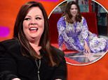 Melissa McCarthy during filming of the Graham Norton Show at the London Studios, south London, to be aired on Friday. PRESS ASSOCIATION Photo. Picture date: Thursday May 28, 2015. Photo credit should read: Ian West/PA Wire