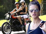 UK CLIENTS MUST CREDIT: AKM-GSI ONLY\nEXCLUSIVE: Supermodel, Alessandra Ambrosio straps on a helmet and goes for ride with a friend on his Harley Davidson motorcycle. Alessandra's friend took her for a cruise around town and a look at the beautiful ocean views down a long strip of road along the ocean as the sun came up in Rio.\n\nPictured: Alessandra Ambrosio\nRef: SPL1039983  260515   EXCLUSIVE\nPicture by: AKM-GSI / Splash News\n\n
