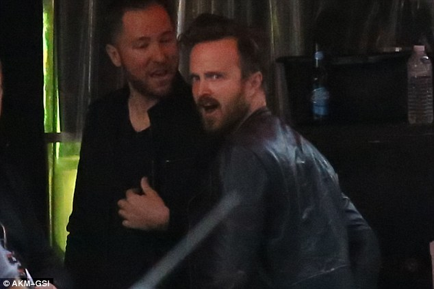 Ready to rock: Breaking Bad's Aaron Paul, 35, looked like he was in a rush to get into The Roxy