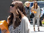 UK CLIENTS MUST CREDIT: AKM-GSI ONLY\nEXCLUSIVE: **MUST CALL FOR PRICING** Actress Jessica Biel steps out for the first time since giving birth to her first child, Silas Randall Timberlake in early April. Jessica visited a local studio for some work looking amazingly trim already in a full length printed jumpsuit and ankle strap heels.  Motherhood sure hasn't held Jessica back from her old form. **SHOT ON 5/28/15**\n\nPictured: Jessica Biel\nRef: SPL1040499  300515   EXCLUSIVE\nPicture by: AKM-GSI / Splash News\n\n