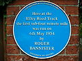 Iffley Road Track, Oxford - blue plaque.JPG