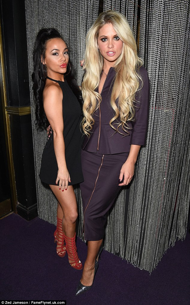 With Chelsee Healey: Clearly dressed for business, Gazza's girl wore a purple skirt-suit which featured a full-length zip from her chest, through the waistline, to her hem