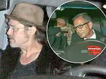 West Hollywood, CA - Brad Pitt and guests keep a low profile as they arrive at Chateau Marmont in West Hollywood.  The 51-year-old actor joined others for the U2 concert after party following the band's Innocence and Experience Tour stop at The Forum. AKM-GSI           May 31, 2015 To License These Photos, Please Contact :    Steve Ginsburg  (310) 505-8447  (323) 423-9397  steve@akmgsi.com  sales@akmgsi.com    or    Maria Buda  (917) 242-1505  mbuda@akmgsi.com  ginsburgspalyinc@gmail.com