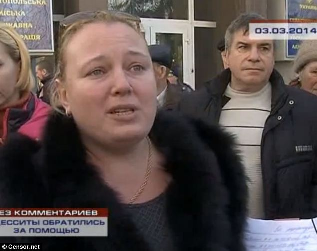Allegations: Russian television makers have been accused of using this woman, seen here as a housewife in Odessa, to pose as five different people opposed to the revolution in Ukraine