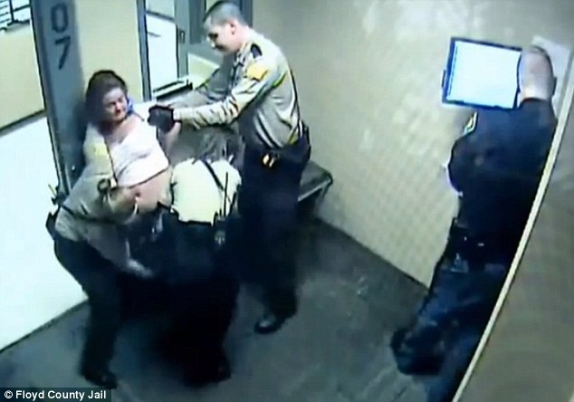Mother-of-four Tabitha Gentry, 31, who was arrested on a misdemeanor charged was stripped by four officers at an Indiana jail in March