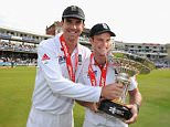 LONDON, ENGLAND - AUGUST 22: Kevin Pietersen (L) and Andrew Strauss of England celebrate the series victory with the Pataudi Trophy during day five of the 4th npower Test Match between England and India at The Kia Oval on August 22, 2011 in London, England.  (Photo by Gareth Copley/Getty Images)