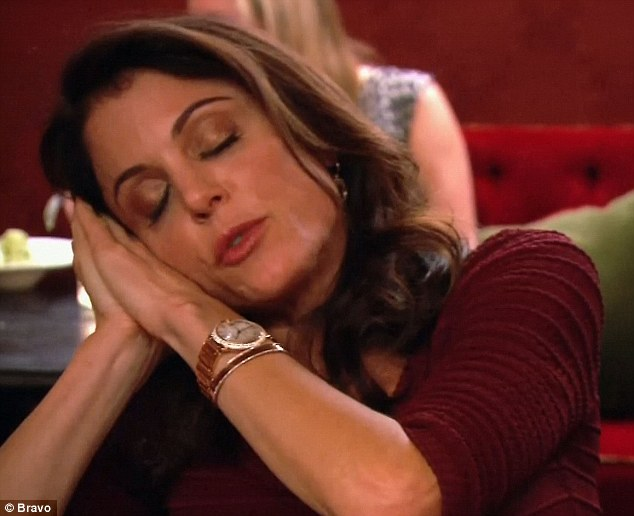 Over it: Bethenny pretended to be asleep as Heather brought up that newbie Kristen Taekman was hurt that she wasn't invited to Bethenny's birthday party