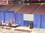 Hillary Clinton spoke Thursday in an arena at Texas Southern University which seats 8,100 people, but organizers closed off most of the seats with 15-foot-tall blue curtains ? leaving a much smaller area for her audience