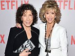 """WEST HOLLYWOOD, CA - MAY 26:  Actresses Lily Tomlin (L) and Jane Fonda arrive at Netflix's """"Grace & Frankie"""" For Your Consideration Q&A screening event at the Pacific Design Center on May 26, 2015 in West Hollywood, California.  (Photo by Amanda Edwards/WireImage)"""