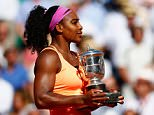 PARIS, FRANCE - JUNE 06:  Serena Williams of the United States poses with  the Coupe Suzanne Lenglen trophy after winning the Women's Singles Final against Lucie Safarova of Czech Repbulic on day fourteen of the 2015 French Open at Roland Garros on June 6, 2015 in Paris, France.  (Photo by Julian Finney/Getty Images)