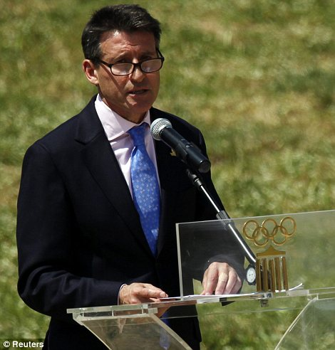 Sebastian Coe, chairman of the London 2012 Olympics organising committee, speaks during the torch lighting ceremony