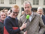 Jeremy Clarkson appearing on the BBC Radio two Chris Evans show, for the first time since he was sacked from The Top Gear show. Picture David Parker 21.5.15