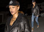 Rihanna wearing a baseball cap, leather jacket and jeans with her name 'Fenty' on her necklace was seen arriving at 'Giorgio Baldi' Italian Restaurant in santa Monica, CA  Pictured: Rihanna Ref: SPL1046808  050615   Picture by: SPW / Splash News  Splash News and Pictures Los Angeles: 310-821-2666 New York: 212-619-2666 London: 870-934-2666 photodesk@splashnews.com