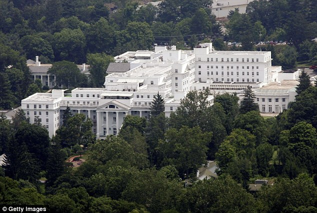 Sprawling building: The exterior view of Greenbrier Resort is seen from the top of a nearby mountain in White Sulphur Springs, West Virginia