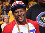 OAKLAND, CA - JUNE 7: Floyd Mayweather, Jr. during Game Two of the 2015 NBA Finals on June 7, 2015 at Oracle Arena in Oakland, California. NOTE TO USER: User expressly acknowledges and agrees that, by downloading and or using this photograph, user is consenting to the terms and conditions of Getty Images License Agreement. Mandatory Copyright Notice: Copyright 2015 NBAE (Photo by Andrew D. Bernstein/NBAE via Getty Images)