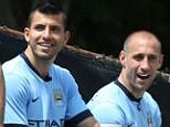 Manchester City FC via Press Association Images MINIMUM FEE 40GBP PER IMAGE - CONTACT PRESS ASSOCIATION IMAGES FOR FURTHER INFORMATION. Manchester City's Martin Demichelis, Sergio Aguero and Pablo Zabaleta (left to right) during the Taxi Challenge