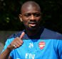 14 May 2014 - The FA Cup - Arsenal Training Session - Abou Diaby of Arsenal gives a thumbs up - Photo: Marc Atkins / Offside.