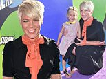 """HOLLYWOOD, CA - JUNE 08:  Singer/songwriter Pink (R) and her daughter Willow Sage Hart attend the Los Angeles premiere of Disney-Pixar's """"Inside Out"""" at the El Capitan Theatre on June 8, 2015 in Hollywood, California.  (Photo by Kevin Winter/Getty Images)"""
