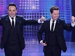 *** MANDATORY BYLINE TO READ: Syco / Thames / Corbis *** Ant and Dec and Calum Scott are seen at the Britain's Got Talent live final on Sunday, May 31st.  Pictured: Ant and Dec Ref: SPL1041385  310515   Picture by: Dymond / Syco / Thames / Corbis
