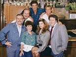 CHEERS -- Pictured: (l-r) John Ratzenberger as Cliff Clavin, Kelsey Grammer as Dr. Frasier Crane, Rhea Perlman as Carla Tortelli, Ted Danson as Sam Malone, Kirstie Alley as Rebecca Howe, Woody Harrelson as Woody Boyd, George Wendt as Norm Peterson-- Photo by: NBCU Photo Bank
