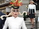 10 June 2015. Lady gaga leaves her hotel in London and poses by a cake for the Langham hotel birthday Credit: GoffPhotos.com   Ref: KGC-159