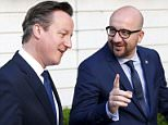 Britain's Prime Minister David Cameron (L) listens to his Belgian counterpart Charles Michel ahead of their meeting in Brussels, Belgium, June 11, 2015.    REUTERS/Francois Lenoir