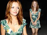 **NO Australia, New Zealand** Beverly Hills, CA - Francesca Eastwood looking sexy green dress with short skirt showing off her legs leaving a house party out in Beverly Hills. **NO Australia, New Zealand** \nAKM-GSI          June 9, 2015\n**NO Australia, New Zealand**\nTo License These Photos, Please Contact :\nSteve Ginsburg\n(310) 505-8447\n(323) 423-9397\nsteve@akmgsi.com\nsales@akmgsi.com\nor\nMaria Buda\n(917) 242-1505\nmbuda@akmgsi.com\nginsburgspalyinc@gmail.com8